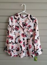 NWT Kate Spade S graphic rose print button up long sleeve pj top
