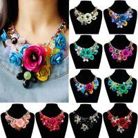Chic Chain Lady Crystal Flower Statement Bib Big Chunky Collar Jewelry Necklace