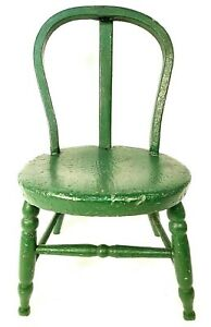Antique Child's Dolls Chair Handmade Furniture Old Green Paint  Circa Late