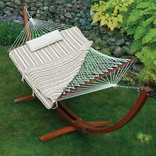 11 Foot Striped Pad Cotton Rope Hammock Free Stand Outdoor Furniture Home Deck