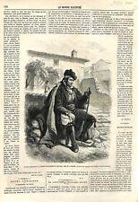Espagne Gitanos Gitan Marchand de Chevaux à Véga Grenade Andalousie GRAVURE 1866