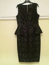BNWOT TED BAKER PEPLUM BLACK AND GOLD  LACE  DRESS SIZE 2 UK10 RRP £299