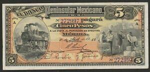1914 MEXICO (BANCO PENNINSULAR) 5 PESO UNC