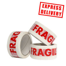 72 Rolls Fragile Low Noise Printed Parcel Packing Tape 48mm x 66m