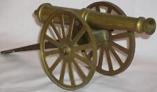 """Brass Replica Cannon on Transport - 7.5"""" inch Barrel - total  length 12"""""""