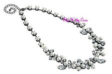 Chic Deco Bridal Bridesmaid Wedding White Pearl Crystal Cluster Necklace RRP £85