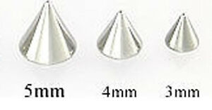 4 (FOUR) 16 GA THREADED REPLACEMENT STAINLESS STEEL CONES / SPIKES 3MM ,4MM ,5MM