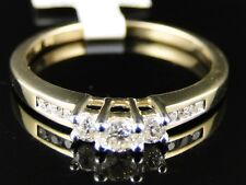 14K YELLOW GOLD LADIES 3 STONE DIAMOND WEDDING ENGAGEMENT ANNIVERSARY BAND RING