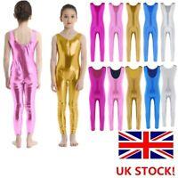 UK Girls Metallic Gymnastics Leotard Jumpsuit Ballet Dance wear Shiny Unitards