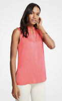 NWT Womens Ann Taylor Coral Sleeveless Split Neck Tunic Top Sz XL