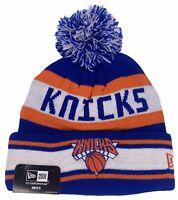 New Era New York Knicks Beanie Knit Hat With Pom Cap Hat Blue Orange NBA NWT