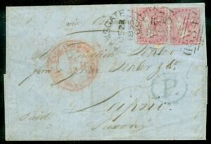 EDW1949SELL : GREAT BRITAIN Choice & Rare 1855 Folded letter to Germany w/Sc #22