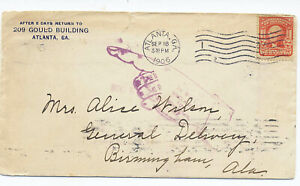 US 1906 Advertising Mail Cover w Charities Letter Atlanta GA to Alabama Big Fing