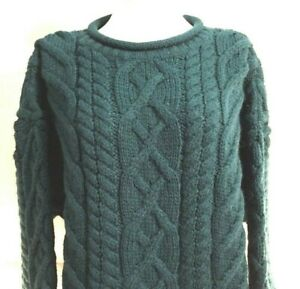 100% Wool Sweater Womens L Made In England For Lands End Emerald Green