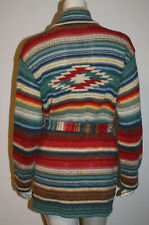 Ralph Lauren Hand Knit Indian Blanket Sweater MP Belted Southwestern Blue Red