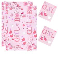 2 Sheets Gift Wrapping Paper With 2 Tags 50cm x 70cm Pink Baby Girl Shower D17