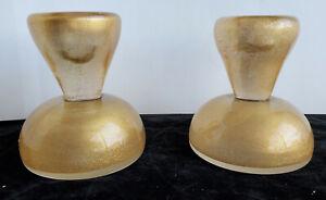 Pr of heavy Venetian Glass Candlesticks with gold flecking Mid Century Mod Decor