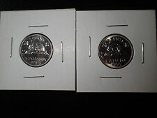 2 X Canadian 5 cents nickel coin 1965-1966 UNC. Canada Nickle- From mint rolls
