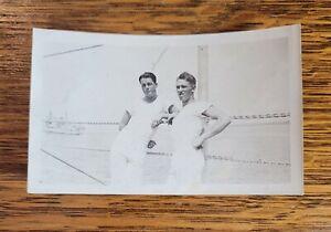 "Vintage Snapshot Photograph of Sailors w/ Battle Ship 4 1/2"" x 2 3/4"" Navy"