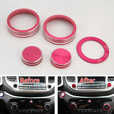 For Tucson 2016 Interior Air Condition Button Ignition Ring Cover Trim Red x5