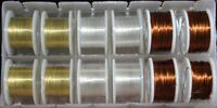 Fly Tying Mixed wires gold silver copper 12 spool box