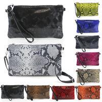 Ladies Womens Leather Snake Skin Print Clutch Shoulder Handbag Wristlet Bag UK