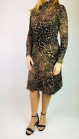 NEW Warehouse Womens Leopard Animal Roll Neck Jersey Fit and Flare Dress 6-16
