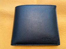 New Men's Coach F74991 Compact ID Sport Calf Leather Wallet: Black