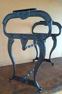 Antique Cast Iron Fireside Bench Frame Victorian Art Nouveau Early 1900s England