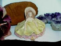 Vintage Porcelain Bisque Little Southern Belle Figurine Sitting Ruffled Lace
