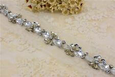 Diamante Bridal Applique Beaded Motif Rhinestone Wedding Applique Crystal Chain