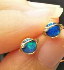 Australischer Schwarz Opal mit Diamant Ohrstecker  18K Gold