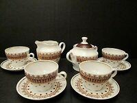 Vtg USSR Soviet Riga RPR Tea Coffee Set Porcelain, CCCP Cup Saucer Sugar Creamer