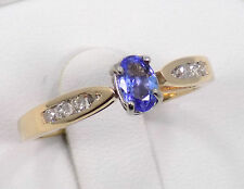 14kt Solid Yellow Gold Tanzanite and Diamond Catheral Set Ring ~ 7 1/4 ~ 2.7 Gr