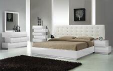 Spain White Modern Bedroom Set In Est King & Headboard W Leather Like Exterior