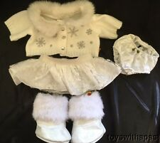Build-A-Bear SNOWFLAKE Sweater Skirt Snow Boots Silver Sparkles Outfit Clothes