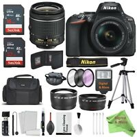 Nikon D5600 DSLR Camera + 18-55mm VR Lens Kit W/ 16 & 32GB 48MB/s SD Card Bundle