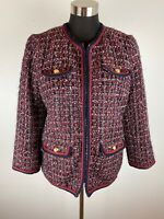 Talbots Womens Blazer 10 Navy Blue Red White Tweed Military Style Gold Buttons