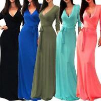 Fashion Women Gown Party Dress Formal Solid V Neck Wrap Waist Long Maxi Dress UK