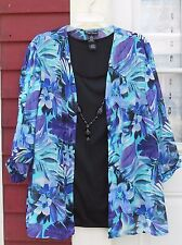 "MAGGIE BARNES Blue/Purple 3/4 Slv Open Front Necklace Shirt/Tank 1X (53"" Fits 2X"