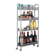 Homfa 4-Tier Gap Kitchen Slim Slide Out Storage Tower Rack with Wheels, Cupboard