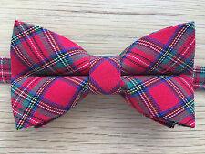 Bow Tie | Funky Handmade Royal Stewart Tartan Bow Tie | Red Green | Pre-tied