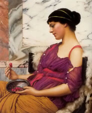 Dream-art Oil painting john william godward - ismenia girl lady woman & cherry