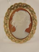 Cameo Pin Brooch Pendant Vintage Antique 10K Rose Yellow Gold Carved Shell
