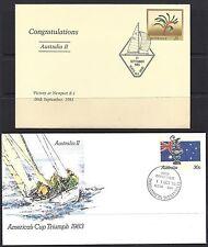 Australia 1983 AMERICA'S CUP TRIUMPH PSE FDC+OVERPRINT ON KANGAROO PAW PSE (2)