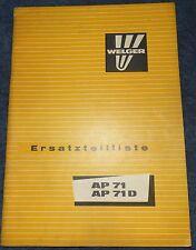 Welger Aufsammelpresse AP 71 / AP 71 D Ersatzteilliste