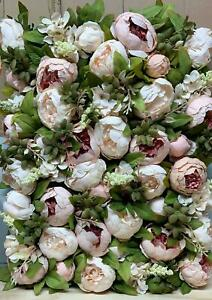 Artificial Peony Rose Flower Panel Bouquet Backdrop Floral Wall 60*40cm UK Stock