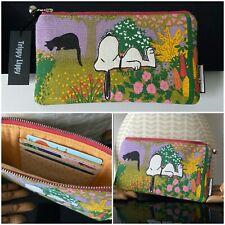 New VTG 60s 70s Snoopy Flower Garden Black Cat Kitty Card Purse Wallet Retro FAB