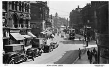 Boar Lane Leeds Motor Car Van Tram unused RP old pc Chadwick