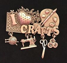 Spoontiques Pewter I Love Crafts Charms Brooch Collectible Gift